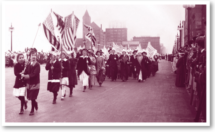 Suffragists marching on Michigan Avenue, 1914