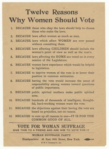 Woman Suffrage Party notice, 1916