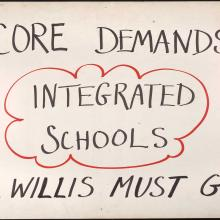 Handmade protest sign, supporting integrated schools, 1965